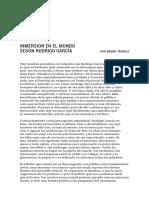 Inmersión en El Mundo Según Rodrigo García – Bruno Tackels