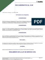 22015 ACUERDO GUBERNATIVO 18-98 Reglamento Ley Servicio Civil