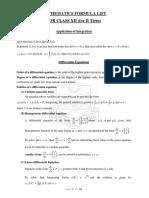 List of Math Formulas Xii Class II Term