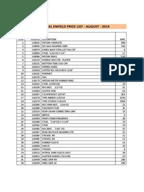 238500155-Royal-Enfield-Price-List pdf | Carburetor | Screw