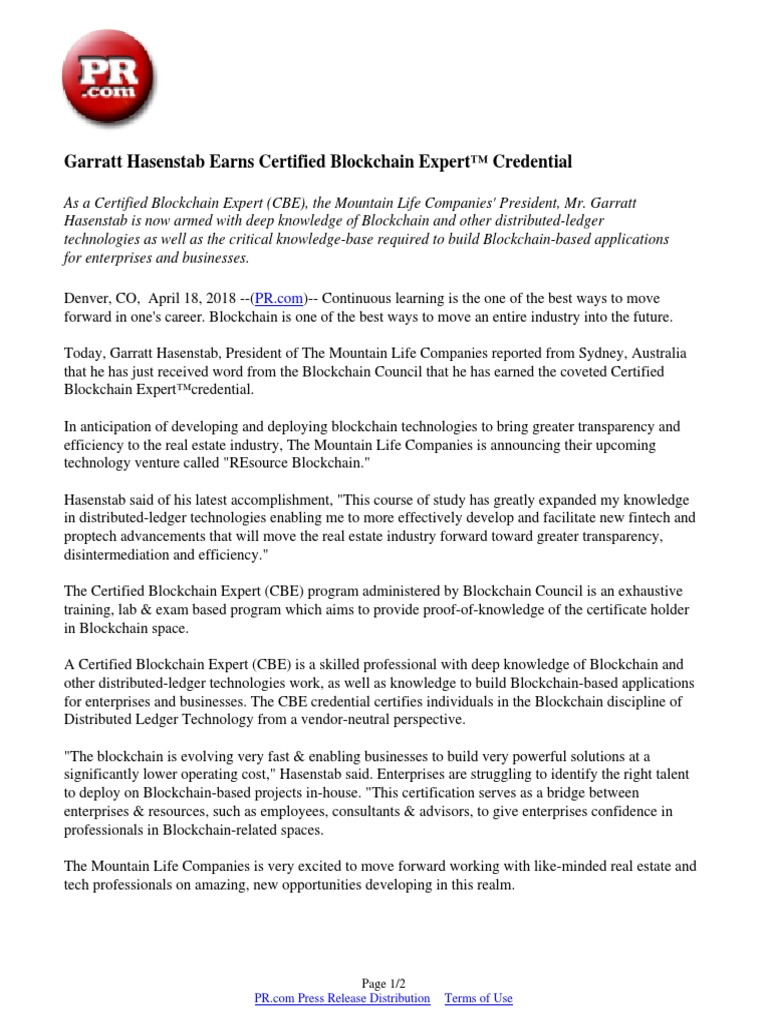 Garratt Hasenstab Earns Certified Blockchain Expert Credential