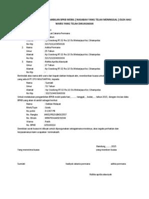 40++ Contoh surat ahli waris pengambilan bpkb terbaru terbaru