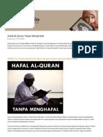 Hafal Al-Quran Tanpa Menghafal