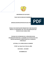 Estudio de Factibilidad de La Creación de Una Organización Dedicada Al Ensamblaje de Bicicletas Con Partes Nacionales e Importadas en La Ciudad de Portoviejo