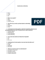 advertising questionnaire