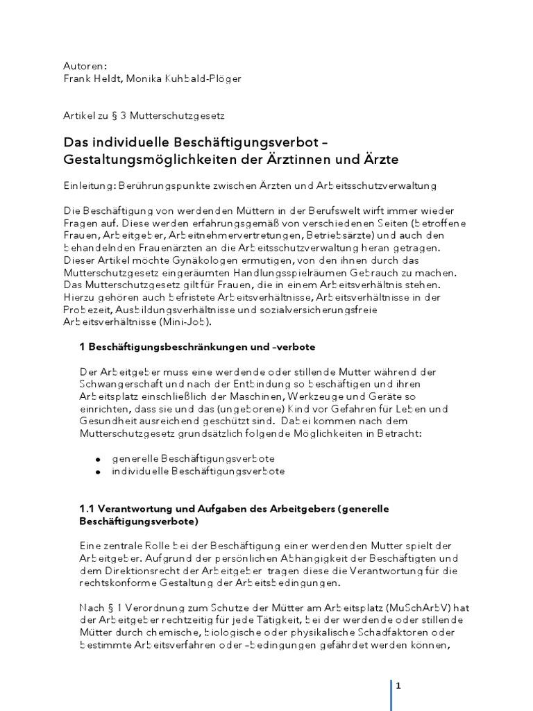 Artikel Zu § 3 MuSchG