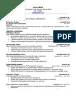 resume teaching an