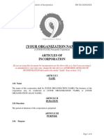 Articles of Incorporation Ready Template