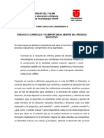 Ensayo El Curriculo y Su Importancia Dentro Del Proceso Educativo