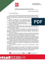 Carta Abierta de La Sección Estatal de CCOO Al Secretario de Estado