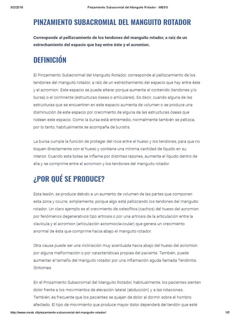10- Pinzamiento Subacromial Del Manguito Rotador - MEDS