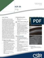 Focus on CSIR Research in Laser Welding