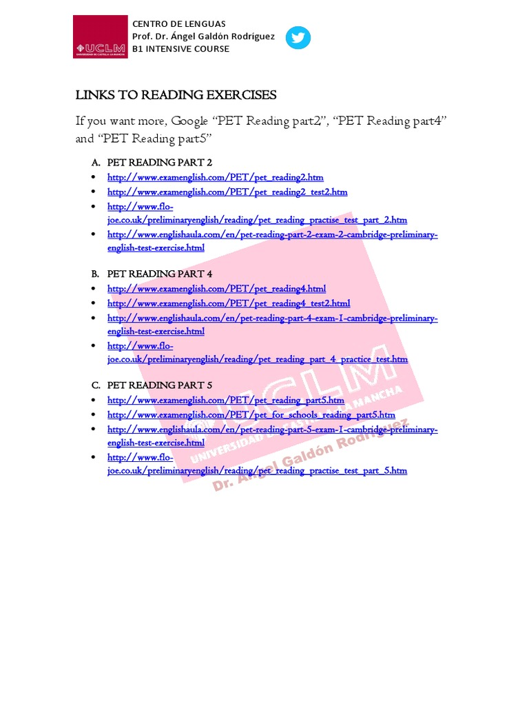 Reading links to practice pdf