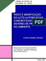 Risco e Modificação do Acto Autorizativo Concretizador de Deveres de Proteção do Ambiente - Carla Amado Gomes