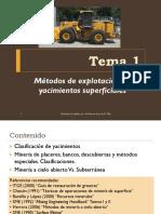 TEMA 1 Métodos de Explotación de Yacimientos Superficiales