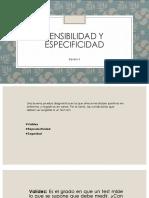 Sensibilidad Especificidad y Validez de Pruebas Diagnosticas