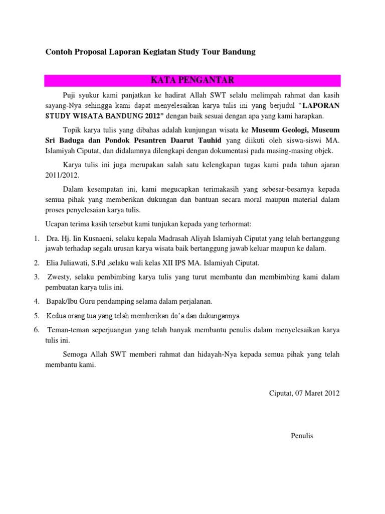 Contoh Proposal Laporan Kegiatan Study Tour Bandung