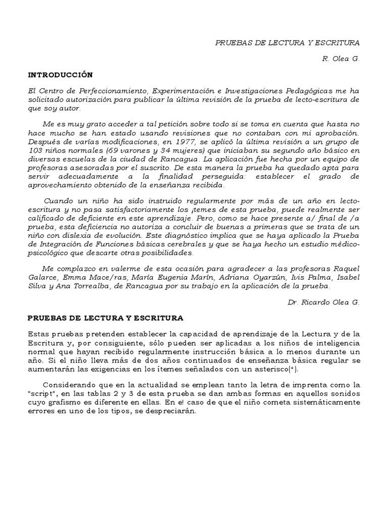 Pruebas de Lectura y Escritura Olea.doc