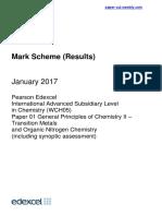 CHEMISTRY UNIT 5 2017 MARK SCHEME