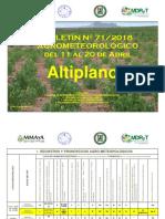 Boletín Nro. 71-2018 Agrometeorológico Del 11 Al 20 de Abril - Altiplano