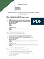 Course Portfolio Final Table of Contents Total Quality Management 2017 1