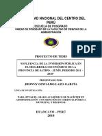 Proyecto de Tesis - Administración - Inversión Pública y Desarrollo Económico - Maestría - JHONNY LAZO - UNCP - Enero 2018
