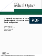 Automatic recognition of surface landmarks of anatomical structures of back and posture