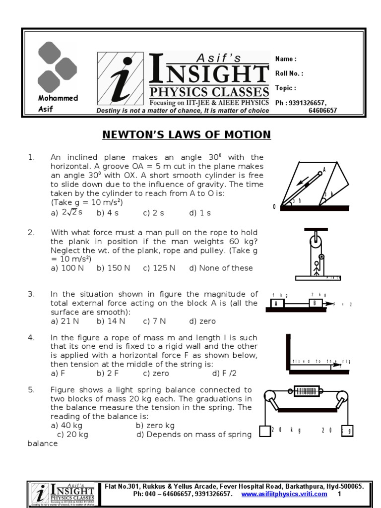 Iit-jee questions for newtons laws of motion pdf writer