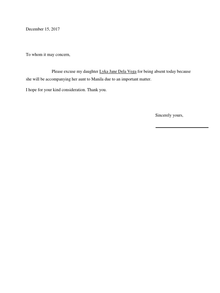 Excuse Letter For Being Absent In Work Due To Important Matter from imgv2-1-f.scribdassets.com