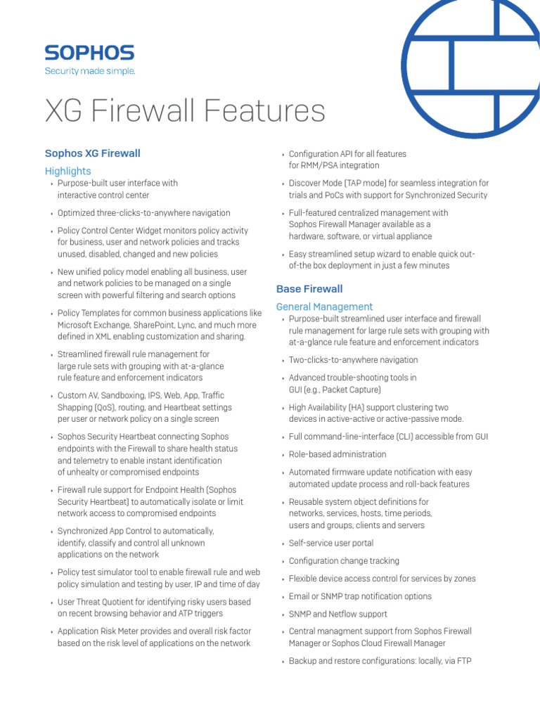 Sophos Xg Features | Firewall (Computing) | Computer Network