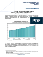 Indicadores del Sector Manufacturero. Cifras durante febrero de 2018