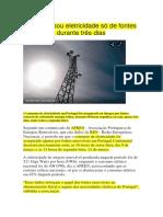 Portugal Usou Eletricidade Só de Fontes Renováveis Durante Três Dias-Noticias
