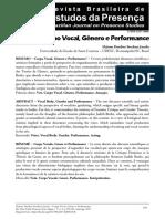 Artigo Corpo Vocal, Gênero e Performance