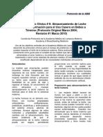 ABM Protocolo Clínico 8 Almacenamiento de Leche Humana. Información Para El Uso Casero en Bebés a Término