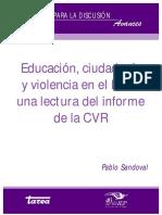 Educación, Ciudadanía y Violencia en El Perú Una Lectura Del Inf