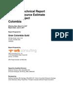 NI 43-101 Technical Report - Mineral Resource Estimate - Segovia Project - Colombia