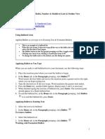 Word Bullet Number Lists PDF