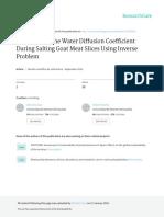 Determinacion Del Coef de Difusion de Agua Durante Salado de Carne Caprina Usando PROBLEMA INVERSO