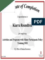 activities with minors 2018 kiarra roundtree