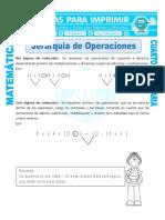 Ficha Jerarquia de Operaciones Para Cuarto de Primaria