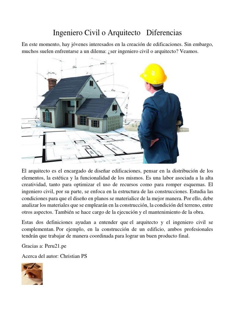 Ingeniero Civil O Arquitecto Diferencias Ingeniería