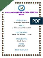 Trabajo Final Sociologia de La Educacion Yaneidy Baez Mercedes