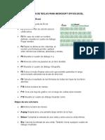 Combinación de Teclas Para Microsoft Office Excel