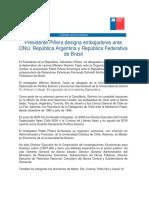 19-04-2018 Presidente Piñera Designa Embajadores Ante ONU, República Argentina y República Federativa de Brasil