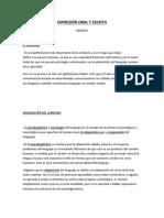 Expresión Oral y Escrita - Unidad 1