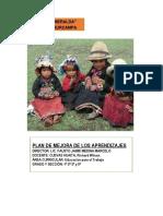 Estructura Del Plan de Mejora de Los Aprendizajes - 2018