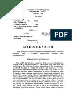 OSG Memorandum on Quo Warranto Petition