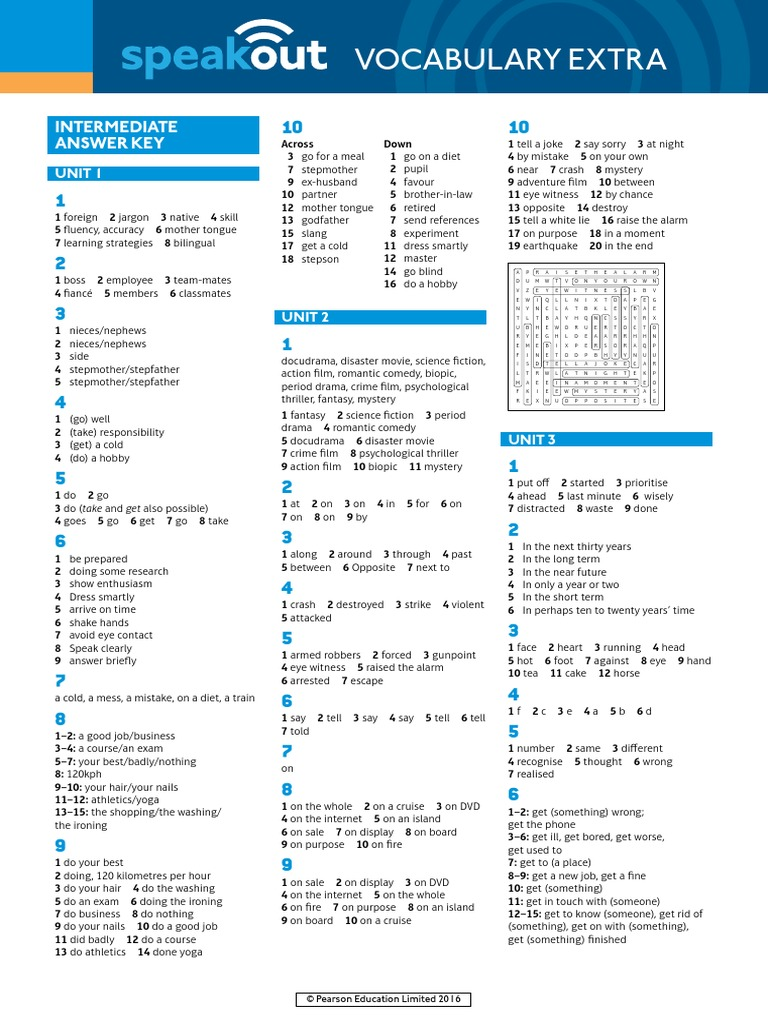 grammar and vocabulary pre-intermediate to intermediate ответы