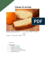 Receta de Queque de Naranja