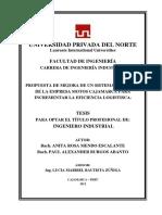 291933256 Propuesta de Mejora de Un Sistema Logitico de La Empresa Motos Cajaamarca Para Incementar La Eficiencia Logistica UPN